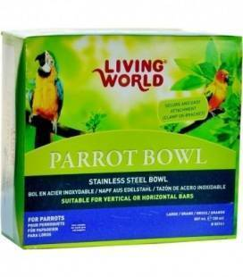 Comedero Acero Inoxidable 850g para Loros Living World